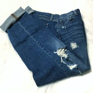 Old Navy mid rise distressed boyfriend jeans